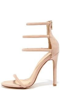 Floor is Yours Nude Suede High Heel Sandals