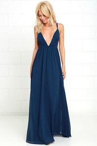 Flutter Freely Navy Blue Maxi Dress