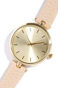 image Life and Times Gold and Beige Watch
