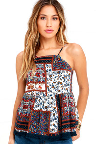 image Desired Climates Navy Blue Print Top
