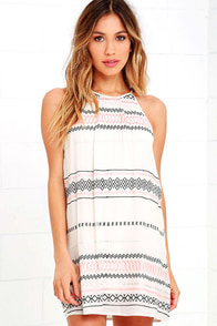 image L.A. Woman Beige Embroidered Halter Dress