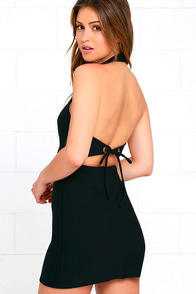 Keep 'Em Guessing Black Halter Dress