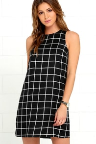 image Olive & Oak One and Only Black and White Grid Print Shift Dress