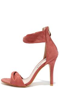 Impress Me Blush Suede Ankle Strap Heels Image