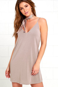 Great Beyond Taupe Shift Dress at Lulus.com!