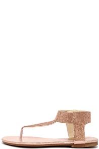 Stunner Step Champagne Rhinestone Thong Sandals