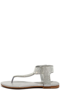 Stunner Step Silver Rhinestone Thong Sandals
