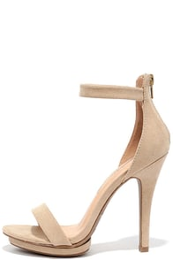 image Suede Away Natural Suede Platform High Heel Sandals