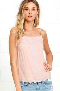 Trust in Me Blush Pink Embroidered Tank Top