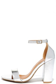 On the House Silver Ankle Strap Heels