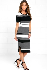 image Olive & Oak This Love Black Striped Midi Sweater Dress