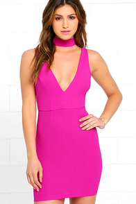 Follow My Lead Magenta Bodycon Dress