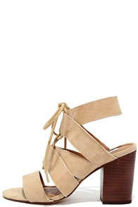 Steve Madden Emalena Sand Suede Leather Lace-Up Caged Heels