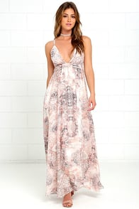 Happy Hues Light Pink Print Maxi Dress