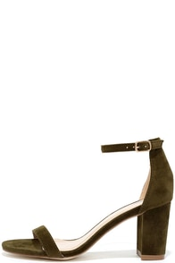 image My Everything Olive Suede Ankle Strap Heels