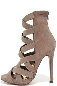 image Fire and Desire Taupe Suede Caged Heels