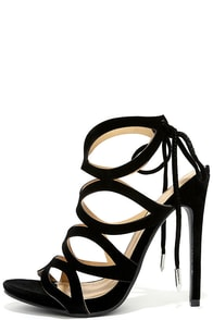 image Rock and Roll With It Black Suede Caged Heels