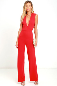image Cat's Meow Red Jumpsuit