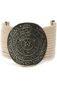 Mystical Carnival Gold and Beige Bracelet