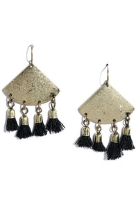 image Take a Bow Black and Gold Tassel Earrings
