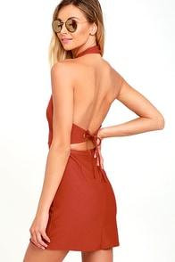 Keep 'Em Guessing Rust Red Halter Dress