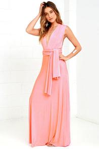 Always Stunning Convertible Coral Pink Maxi Dress