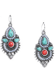 Kashmir Valley Silver and Turquoise Earrings