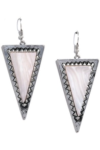Eternal Moon Silver and White Earrings