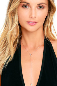 Drop on By Rose Gold Rhinestone Necklace