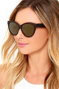 Woodzee Kourtney Dark Gold Ebony Wood Sunglasses