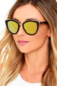 Woodzee Lexi Gold Mirrored Ebony Wood Sunglasses