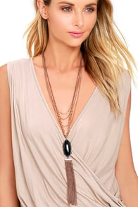 Sultry Secret Black and Bronze Layered Necklace