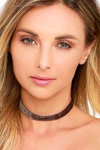image Vanessa Mooney Loving You Brown Velvet Choker Necklace