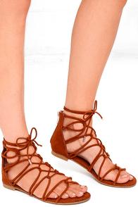Untamed Heart Chestnut Suede Lace-Up Gladiator Sandals