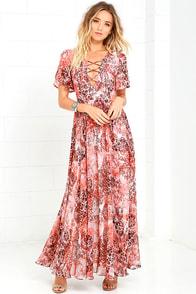 image Time to Celebrate Blush Pink Print Maxi Dress