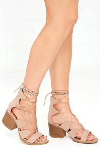 image Take in the Sights Taupe Suede Lace-Up Heels