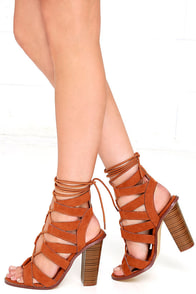 Keep Smiling Tan Suede Lace-Up Heels Image