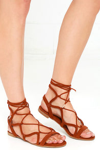 image You Got This Chestnut Suede Lace-Up Sandals