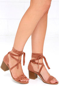 This Moment Camel Suede Lace-Up Heels