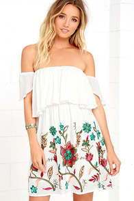 image Sweetest Escape White Embroidered Off-the-Shoulder Dress