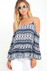 Favorite Song White and Navy Blue Print Top