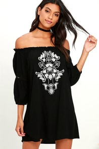 Doe Trail Black Embroidered Off-the-Shoulder Dress at Lulus.com!