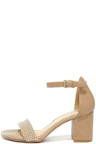 image CL by Laundry Jessie Taupe Snake Ankle Strap Heels
