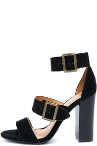 image To the Top Black Suede High Heel Sandals