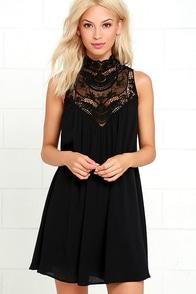 Chic Black Dress Shift Dress Long Sleeve Dress 43 00