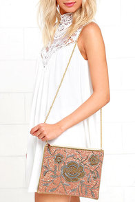 image Sparkling Opportunity Gold and Peach Beaded Clutch