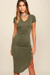 image Serene Sunrise Olive Green Bodycon Midi Dress