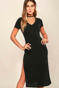 image Time to Unwind Washed Black Midi Dress