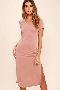 Time to Unwind Mauve Midi Dress