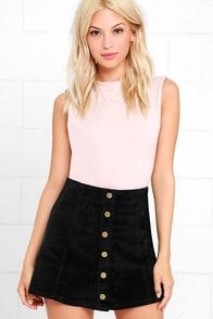White Crow Austin Black Corduroy Mini Skirt